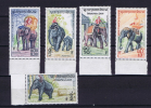 Laos, 1958 Elephants Serie 5 Highest Values Of 7, Mint Never Hinged. - Elefanti