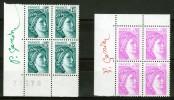 FRANCE N° 1966 + 2120 NEUFS** BLOCS DE 4 SIGNE P. GANDON. RARE VOIR SCAN. - France