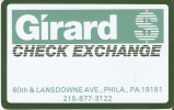 TARJETA DE ESTADOS UNIDOS DE GIRARD CHECK EXCHANGE  (USA) - Sin Clasificación