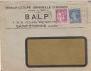 Enveloppe Manufacture Générale D´armes BALP Saint Etienne Obliteration 1937 - France