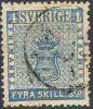 # Sweden    2, Used, VF,  SCV $110,   (sw002-1, Michel 2  [16-aat - Used Stamps