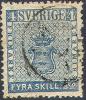 # Sweden    2, Used, VF,  SCV $110,   (sw002-1, Michel 2  [16-aat - Suède