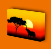 Canvas Art Print On Stretcher Bars, Animal, Elephant, Savanna, Africa, Sunset - Prints & Engravings