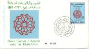 DEUX SIECLES D´AMITIE AVEC LES ESTATS-UNIS 1987-1787 FDC TBE ROYAUME DU MAROC - Marokko (1956-...)