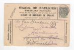 769/17 -  BELGIQUE - Carte IMPRIMEE ILLUSTREE BRUXELLES 1900 - Sièges Et Meubles De Salon De Saulnier - Timbres