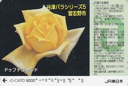Carte Prépayée Japon - FLEUR - ROSE Jaune / Cultivar DUFT GOLD - Japan Prepaid JR IO Flower Card - Blume Karte - 861 - Fleurs