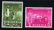 NIGERIA 1963  Freedom From Hungr Campaign  Cattle, Tractor  SG 129-130   MH * - Nigeria (1961-...)