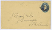 USA  1887 Cover To Groningen The Neherlands, With Groningen Cancel And Maiman Number Stamp At Back