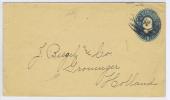 USA  1887 Cover To Groningen The Neherlands, With Groningen Cancel And Maiman Number Stamp At Back - Postwaardestukken