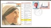India 2006 Mother Teresa Gandhi Leprosy Is Curable Label Noble Prize Winner Health Disease Flag Sp Cover Inde Indien - Mother Teresa