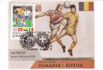 1994 USA, World Cup,Football,soccer,CM,maxicard,cartes Maximum Match; Romania - Elvetia. - World Cup