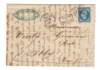 Lettre De 1863-TOULOUSE (30)-GC 3982-YV N°22 - 1862 Napoléon III.