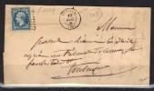 FRANCE N° 14 B Obl. S/Lettre Entiére PC 1350 Fronton Hte. Garonne (pli D'archive) - Marcophilie (Lettres)