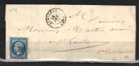 FRANCE N° 14 Obl. S/Lettre Entiére PC 187 Aurignac Hte Garonne (pli D'archive) - Marcophilie (Lettres)