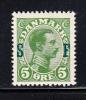 Denmark Scott #M1 MH 5o Green Overprinted 'SF' - 1913-47 (Christian X)