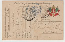 45-P.M.1^ Guerra-Posta Militare Zona Carnia-Franchigia Stemma E Bandiere-v.7.9.1915 X Acireale - War 1914-18