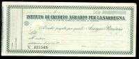 ASSEGNO ISTITUTO CREDITO AGRARIO SARDEGNA 1935 RARO - Shareholdings
