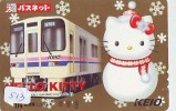 Carte Prépayée  Japon * HELLO KITTY * CAT * CHAT * Katze (513) PHONECARD Japan * TELEFONKARTE * TREIN - BD