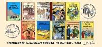 FRANCE 2007 N°25 Albums Fictifs + 2 Cachets Premier Jour FDC TINTIN KUIFJE TIM HERGE GUEBWILLER - Comics
