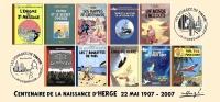 FRANCE 2007 N°26 Albums Fictifs + 2 Cachets Premier Jour FDC TINTIN KUIFJE TIM HERGE GUEBWILLER - Comics