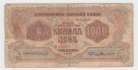 Bulgaria 1000 Leva 1945 VG Banknote P 72 - Bulgarie