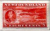 Newfoundland GVI 1937 ´Long´ Coronation 8c Scarlet P.14, Hinged Mint (A) - Newfoundland