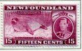 Newfoundland GVI 1937 ´Long´ Coronation 15c Claret P.14, Hinged Mint (A) - 1908-1947