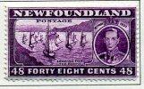 Newfoundland GVI 1937 ´Long´ Coronation 48c Slate-purple P.14, Hinged Mint (A) - 1908-1947