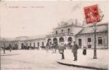 MOULINS GARE VUE EXTERIEURE  (ATTELAGE CHEVAUX ET ANIMATION)  1912 - Moulins
