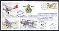 RAF 75th Anniversary FDC Bahamas Scott #775d 60c DeHavilland DH9a No. 43 Squadron - Bahamas (1973-...)