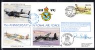 RAF 75th Anniversary FDC Belize Scott #1006 75c Avro Lancaster No. 101 Squadron - Belize (1973-...)