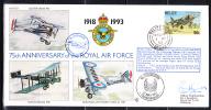 RAF 75th Anniversary FDC Belize Scott #1004 50c British Aerospace Harrier No. 1 Squadron - Belize (1973-...)