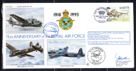 RAF 75th Anniversary FDC St Kitts Scott #353 80c Westland Whirlwind No. 84 Squadron - St.Kitts-et-Nevis ( 1983-...)
