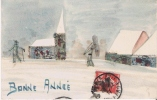 CARTE PAYSAGE PEINTE ET FAITE DE MORCEAUX  DE TIMBRES  1911 - Timbres (représentations)