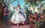 Cpa Chromo, Danseuse, Décor Champêtre, Melle Camargo, Dansant -cpa Portugaise-, Circulée En 1908 (3.21) - Peintures & Tableaux