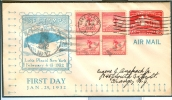 USA Olympic Stationery With Block Of 4 With First Day Cancel 25-1-1932 - Winter 1932: Lake Placid