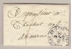 LAC  CHATEAU DU LOIR SARTHE POUR LE MANS 2 SEPT 1836 / TAXE - Marcofilia (sobres)