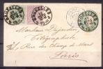 Belgique : 45 + 46 Sur Enveloppe Préaffranchie De Bx Vers Paris - 1884-1891 Leopold II