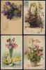 LOT DE 4 CPA FLEURS BOUQUETS VASES PANIERS LILAS JONQUILLES PRIMEVERES MARGUERITES... - Flowers, Plants & Trees