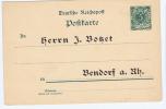 Germany, Reichpost  Postcarte 5 Pf Bendorf Unused - Germania