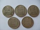 LOT DE 5 PIECES DE 10 FRANCS TURIN ARGENT 1929/1930/1931/1932/1933 - France