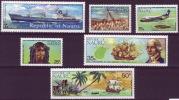 ( 1565 ) Nauru - Ships - Airplane - 175 Th Anniversary Of First Contact Of Nauru . - Ships