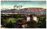 SUISSE GENEVE VUE SUR LA VILLE MONT BLANC ET SALEVE DEPUIS L'ARIANA  COLORISEE VOYAGEE 1912 - GE Ginevra