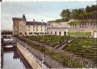 Villandry - Vue D´ensemble Des Jardins Et Façade Sud - Circulé 1963 - Colrisée - France
