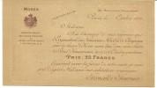 CDV  LITHOGRAPHIEE-  1906 - MODES CHAPEAUX-  FERNANDE FOURNIER - BLASON -  FOURNISSEUR COUR D'ESPAGNE & INFANTE EULA - Cartes De Visite