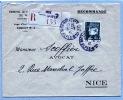 PETAIN ((523) Sur Lettre Recommandée De Nice Pour Nice / 1942 - Marcophilie (Lettres)