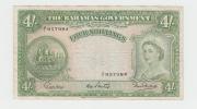 Bahamas 4 Shillings 1953 VF Crisp RARE Banknote P 13b 13 B - Bahamas