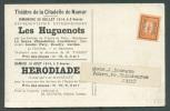 1 Cent. Pellens Surchargé BRUSSEL-BRUXELLES 14 S/C.P. Imprimé Théatre De La Citadelle De Namur - 26 Juillet 1914 - Les H - Precancels