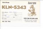 QSL CB Radio KLN 5343 Ed Kolisar Canton Ohio - CB