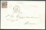 5 Baj. Rose, Margé, Obl. Grille S/L. D'ANCONA Le 2-01-1859 Vers Roma - 7069 - Stato Pontificio
